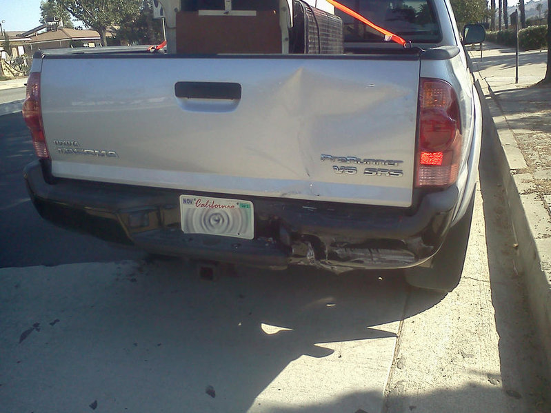 Rear-ended today. Tacoma vs. Lincoln Mark LT-1002121532.jpg