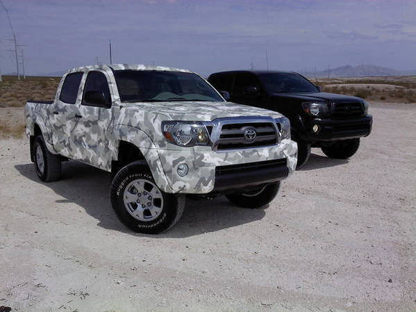 Snow Camo Paint Job http://www.tacomaworld.com/forum/street-trucks/206961-custom-paint-job-2nd-gen-street-taco-2.html