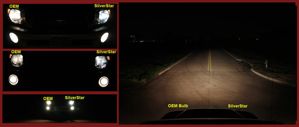 Sylvania SilverStar bulb vs. OEM headlight