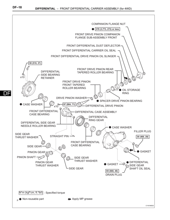 the torque spec guide tacoma worldToyota T100 Wiring Diagram In Addition Toyota Ta A Front Differential #18