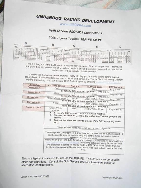 Anyone have URD MAF Calibrator Installation Instructions? | Tacoma World