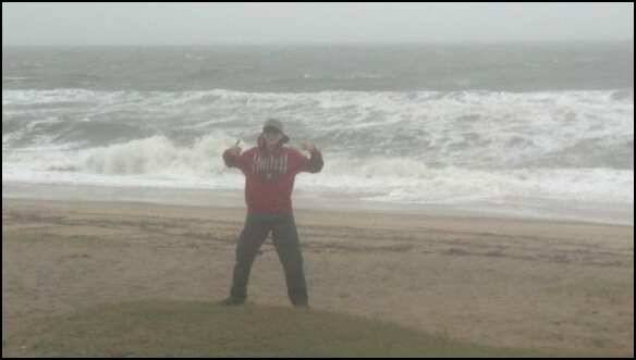 Me On Beach in Hurricane Sandy