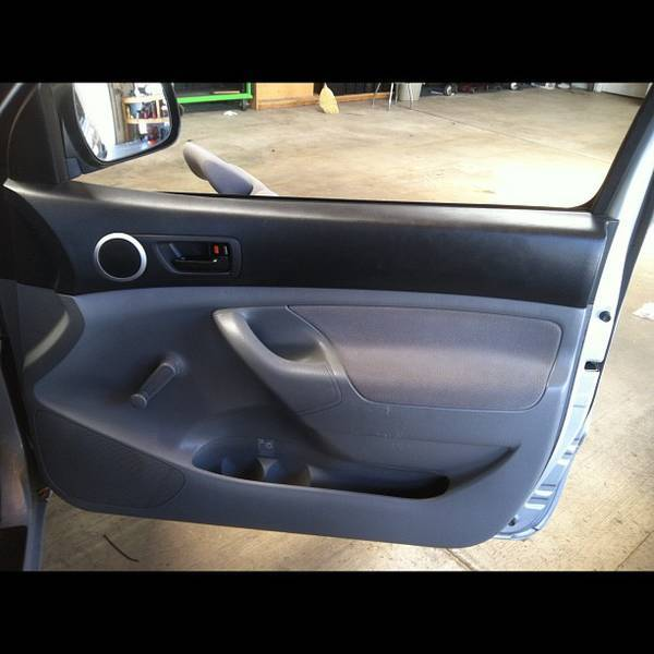 Custom door panel before and after