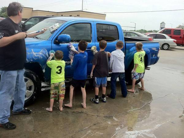 My nephew's football team car wash fundraiser!