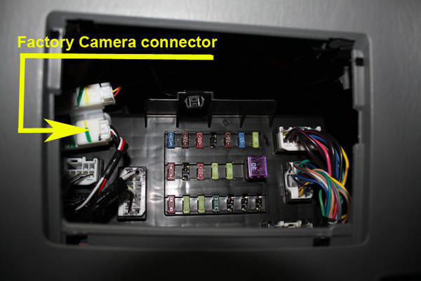 Connector_location oem back up camera connected to after market radio toyota  at reclaimingppi.co