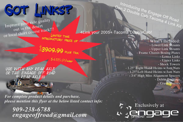 EngageOffRoad 05-13 Tacoma 4 Link Kit
