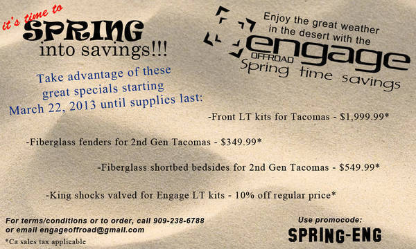 EngageOffRoad 2013 Spring Time Sale