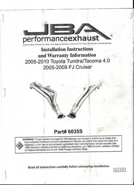 JBA Long Tube Headers Review & Install Instructions   Tacoma