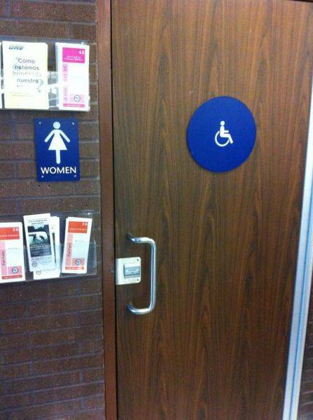 Restroom at the DMV.. Handicapped restroom with a one legged chick on it