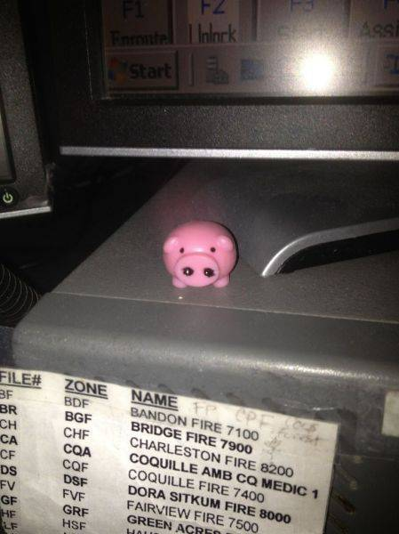 My piggy... It came out of a quarter machine... I work 911 dispatch