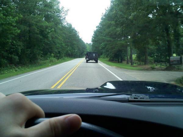 Behind an H1. I was tailing him when i was talking this pic.... i was tryin