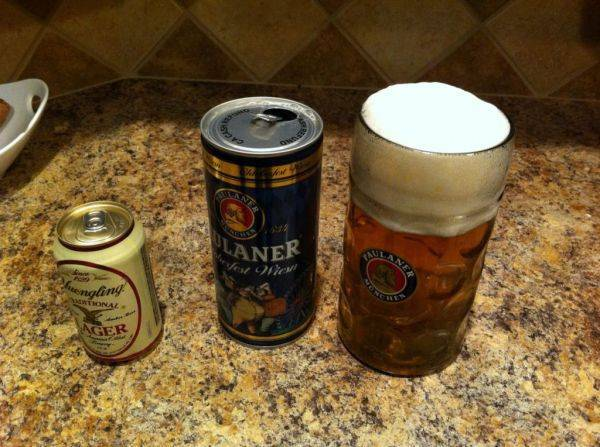 Enjoying my 36 ounce paulaner. Yuengling for scale