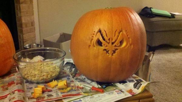 Carving us some pumpkins. :)