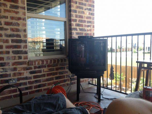 Got a free tv for the upstairs patio