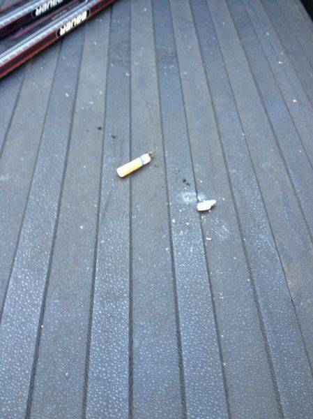 Came out to find this in my truck bed. Someone's personal ashtray
