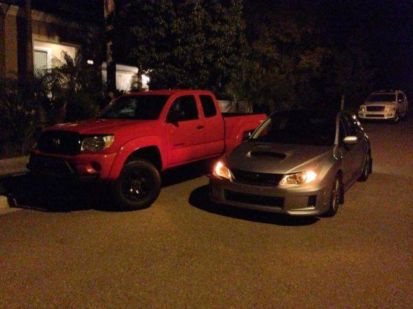 My new subie. And my old taco which now belongs to my brother. He just put