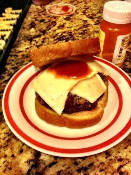 I just invented the meatball cheeseburger. That's garlic infused white
