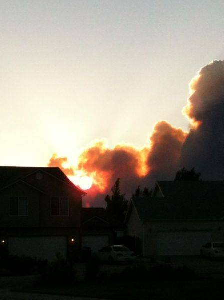 Sun through smoke of wild land fire just west of me