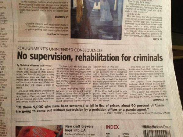 So 90,000 are being let loose b/c of costs. 90% of them no probation office