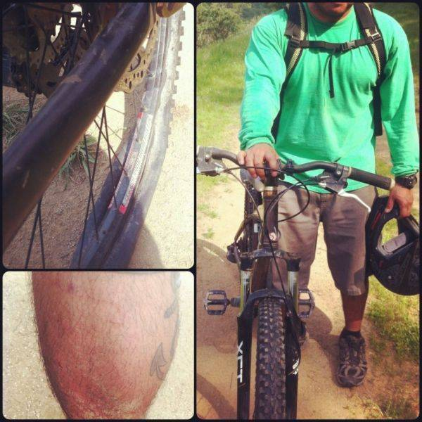 Blown out tire, busted shins, and bent bars. That wall ride transition got