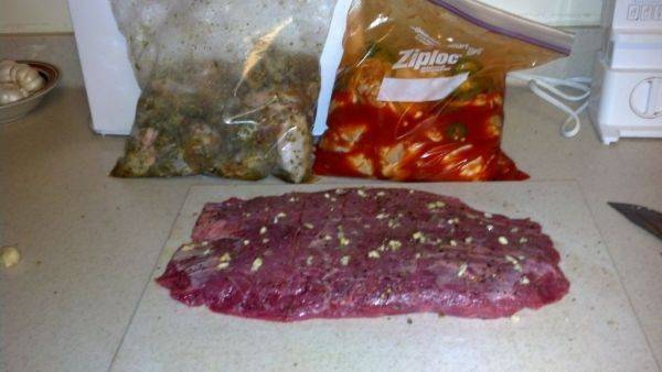 5 lbs of wings and a 2.5 lbs of flank steak... Fight food is prepped