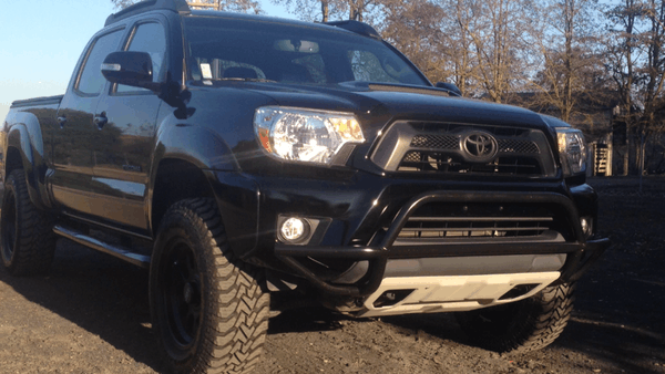 Tacoma, TRD sport, 5100s 1.75, avid bar, skid plate, roof rack, black rims,