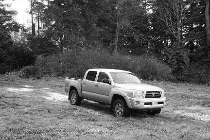 Black and white of the rig