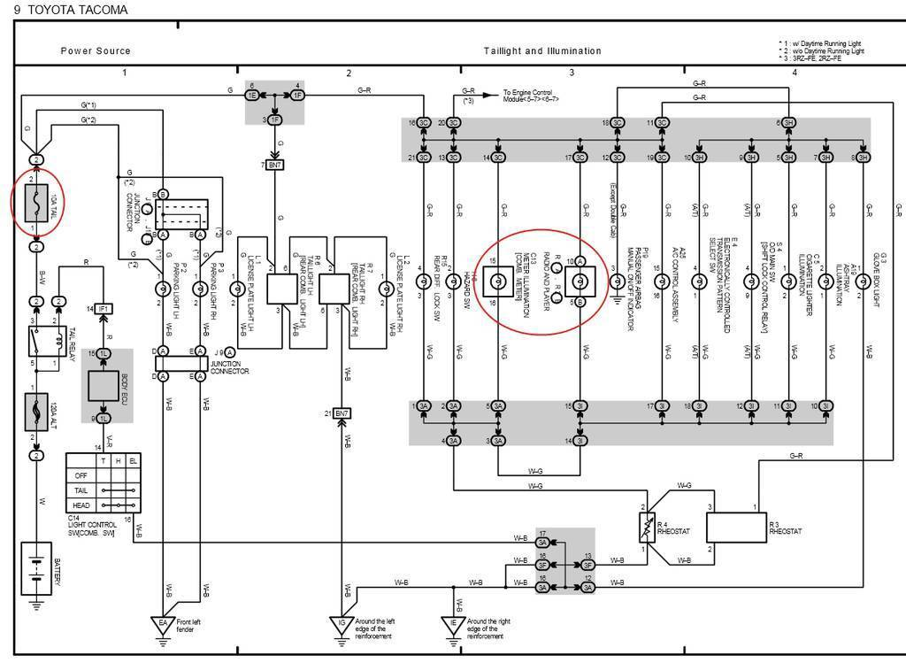 tailight and illumination wiring diagram for 2001 tacoma